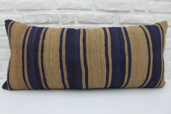 Extra Long Navy Striped Kilim Lumbar Pillow 16 x 36 - touchGOODS