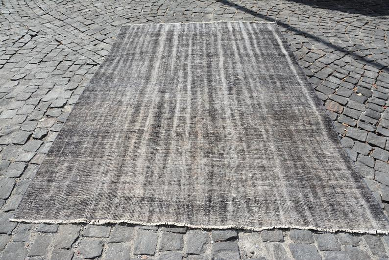 Distressed Gray Over-dyed Vintage Area Rug 6'8 x 10'4 | touchGOODS