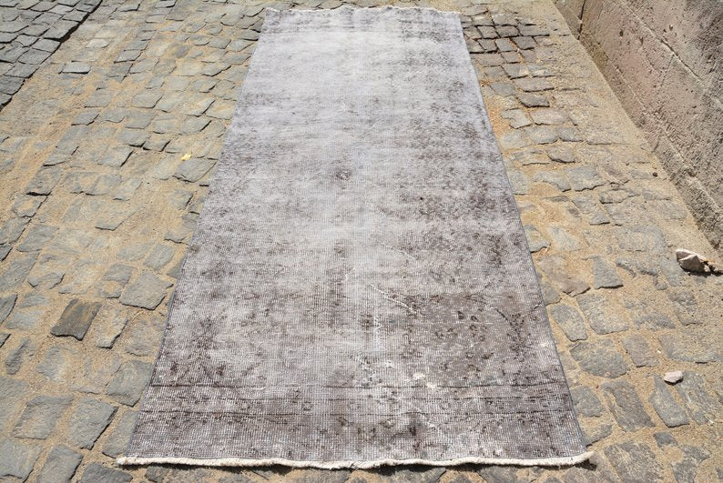 "Distressed Gray Over-dyed Vintage Runner 3'7"" x 9' 