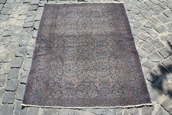"Gray & Blue Over-dyed Vintage Area Rug 4'9"" x 3'9"" 