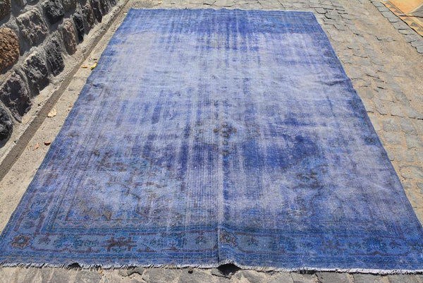 Distressed Blue Over-dyed Vintage Rug 9'3 x 6'5 - touchGOODS