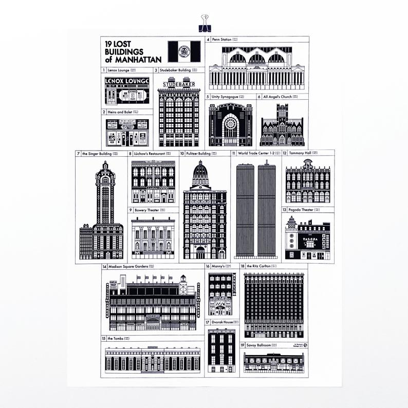 "Manhattan Lost Buildings 17x22"" Art Print by Raymond Biesinger 