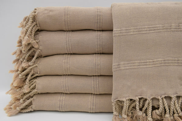 Stone Washed Turkish Bath Towel ~ Beige | touchGOODS
