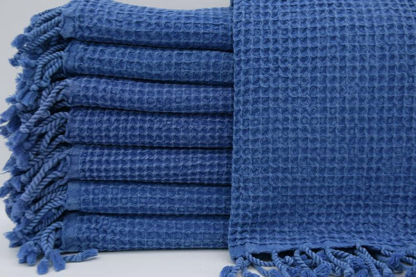 Stone Washed Turkish Waffle Hand Towel ~ Denim Blue | touchGOODS
