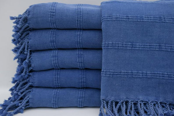 Stone Washed Turkish Bath Towel ~ Denim Blue | touchGOODS