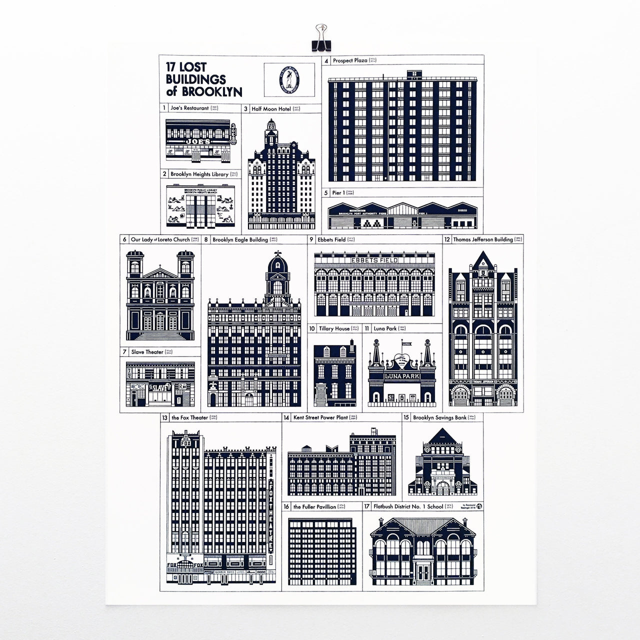 "Brooklyn Lost Buildings 17x22"" Art Print by Raymond Biesinger 