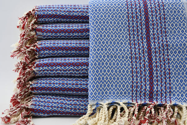 Peshtemal Turkish Bath Towel ~ Blue & Red Diamond Pattern | touchGOODS