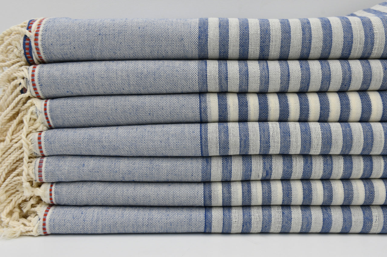 Striped Peshtemal Turkish Bath Towel ~ Blue & Cream | touchGOODS