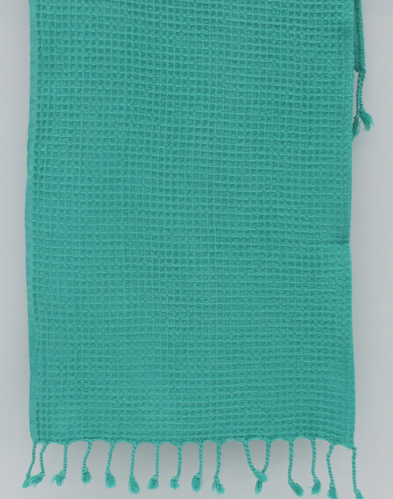 Stone Washed Turkish Waffle Hand Towel ~ Teal | touchGOODS