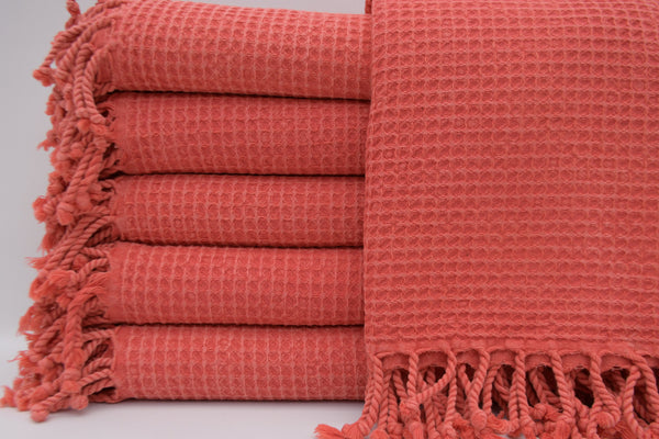 Stone Washed Turkish Waffle Bath Towel ~ Coral | touchGOODS