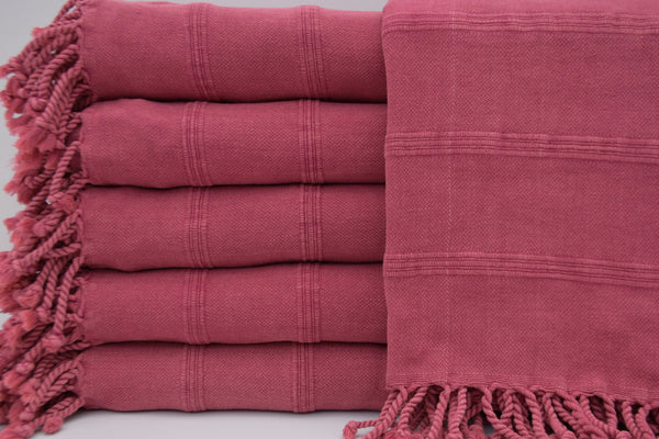 Stone Washed Turkish Bath Towel ~ Fuscia | touchGOODS