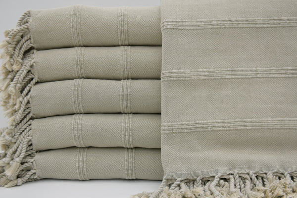 Stone Washed Turkish Bath Towel ~ Light Beige | touchGOODS