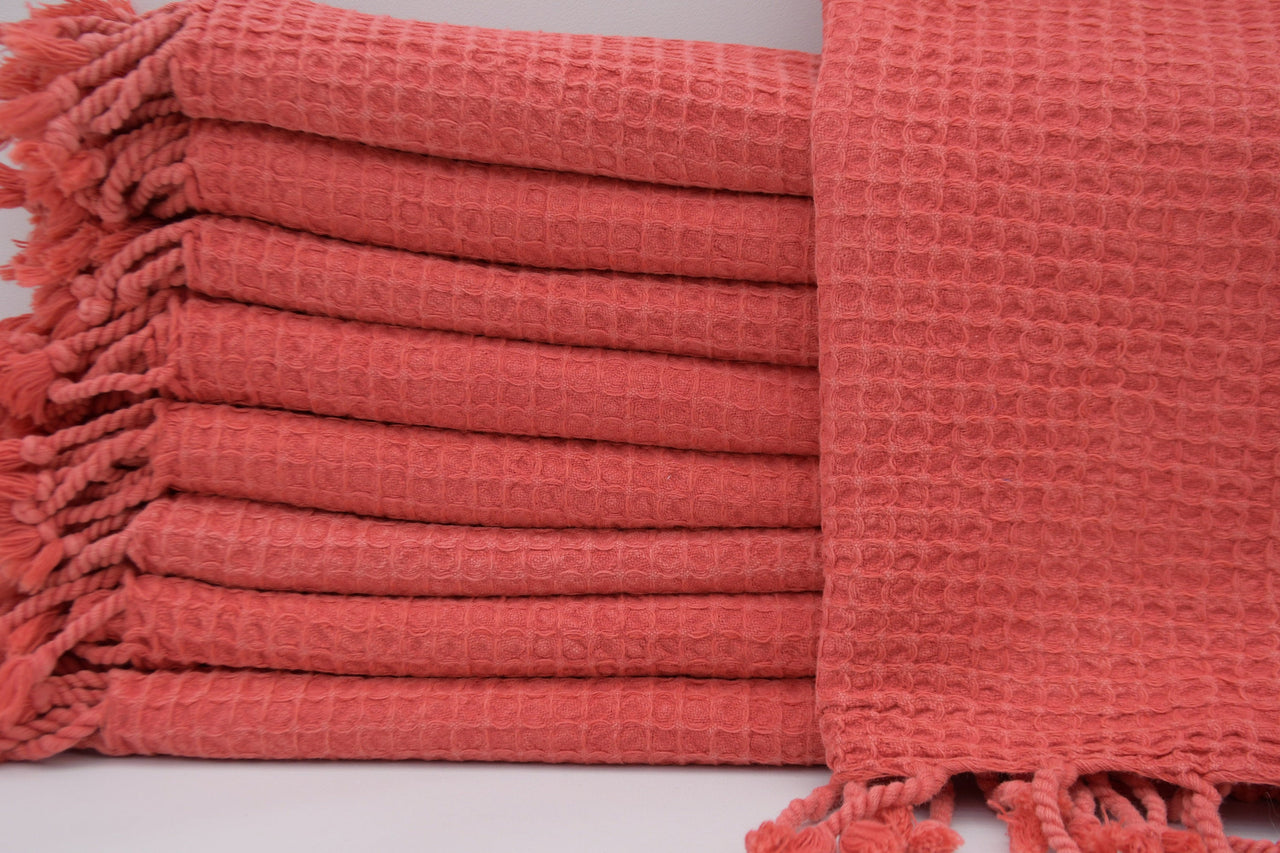 Stone Washed Turkish Waffle Hand Towel ~ Coral | touchGOODS