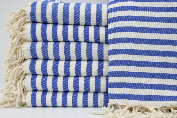 Striped Peshtemal Turkish Bath Towel ~ Blue & White | touchGOODS