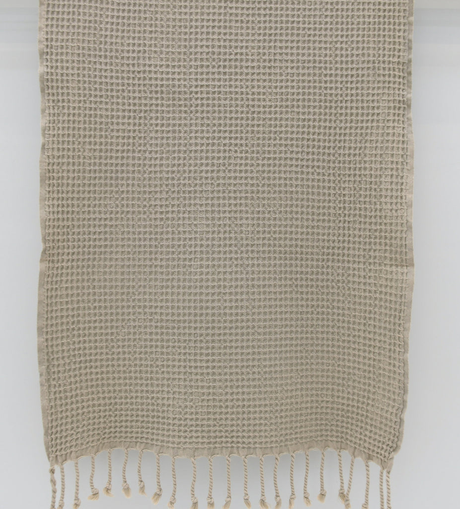 Stone Washed Turkish Waffle Hand Towel 20 x 44 ~ Beige | touchGOODS