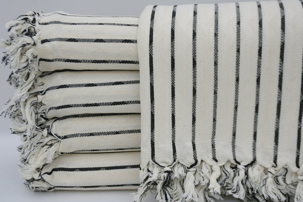 Striped Peshtemal Turkish Bath Towel ~ Black Stripes | touchGOODS