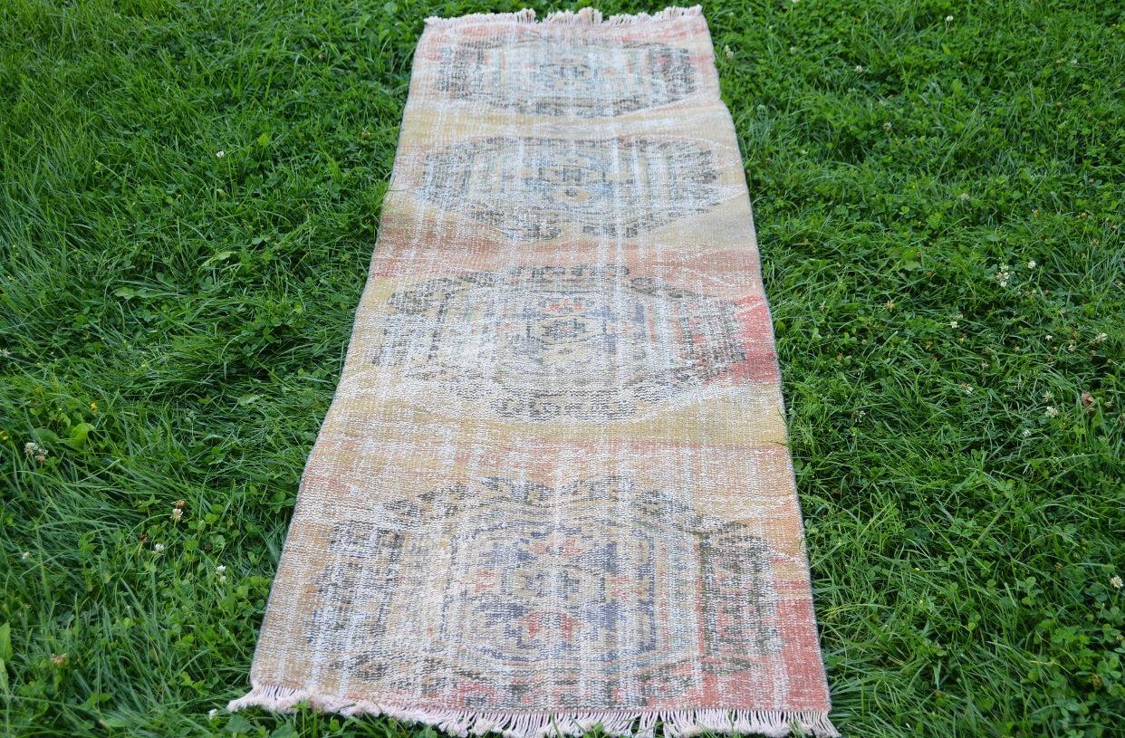 "Decorative Vintage Oushak Runner 2'4"" x 4'8"" 