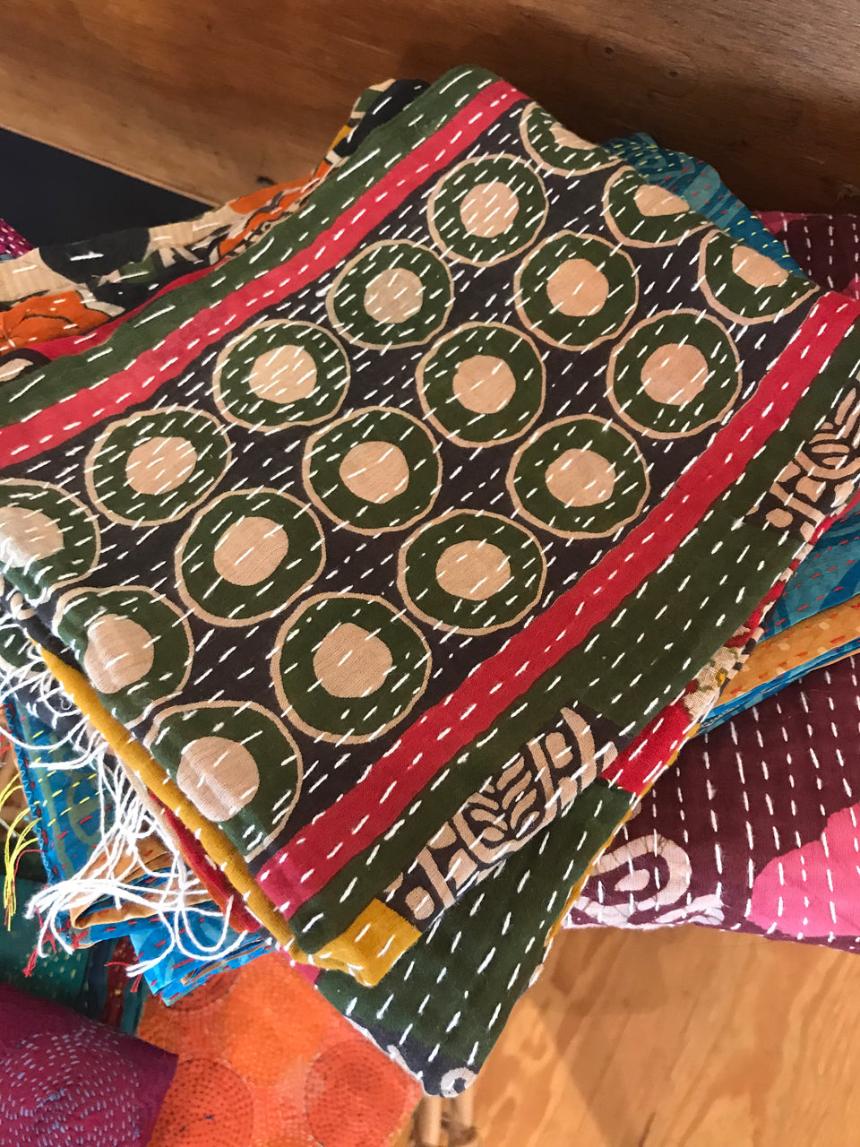Assorted Vintage Cotton Kantha Scarves | touchGOODS