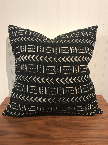 African Mudcloth Throw Pillow in Black - touchGOODS