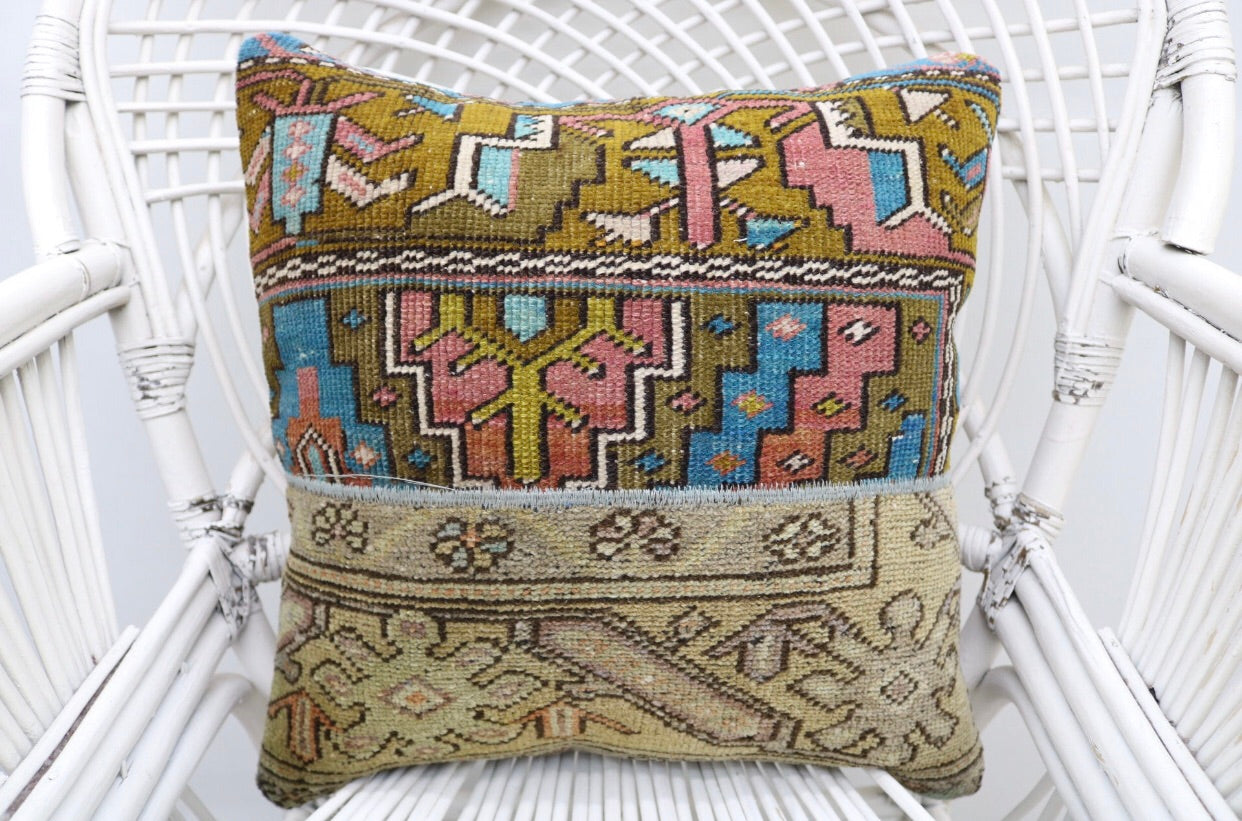 Decorative Turkish Patchwork Kilim Throw Pillow | touchGOODS