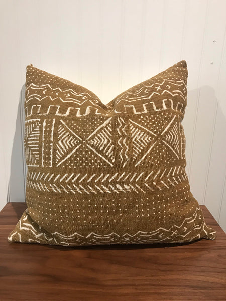 African Mudcloth Throw Pillow in Brown Mustard - touchGOODS