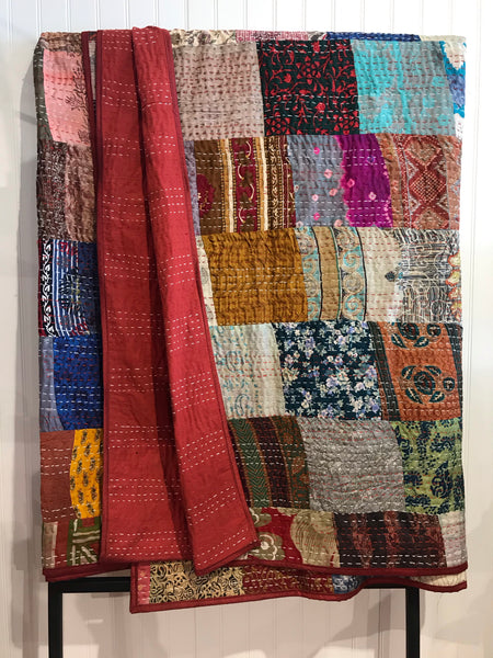 Assorted Indian Hand Embroidered Silk Patchwork Quilts | touchGOODS