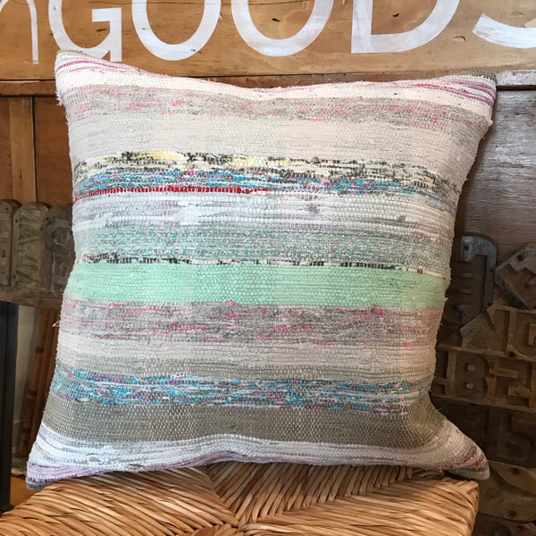 "Striped Turkish Rag Rug Pillow - 20"" Square 