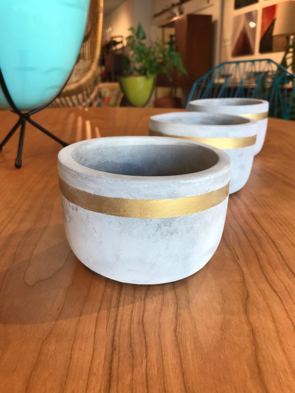 "Short Cement Planter with Gold Stripe 3""h"
