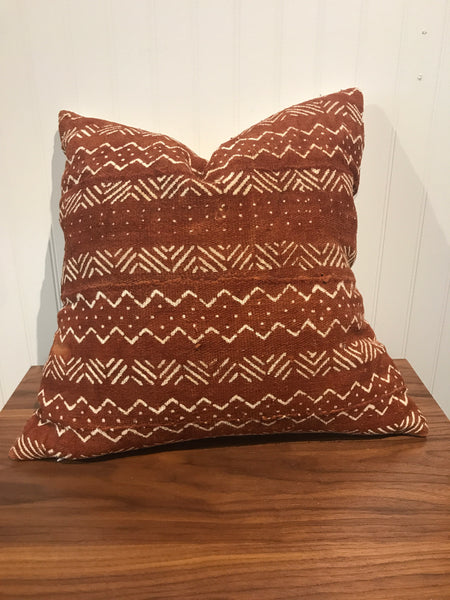 African Mudcloth Throw Pillow in Rust - touchGOODS