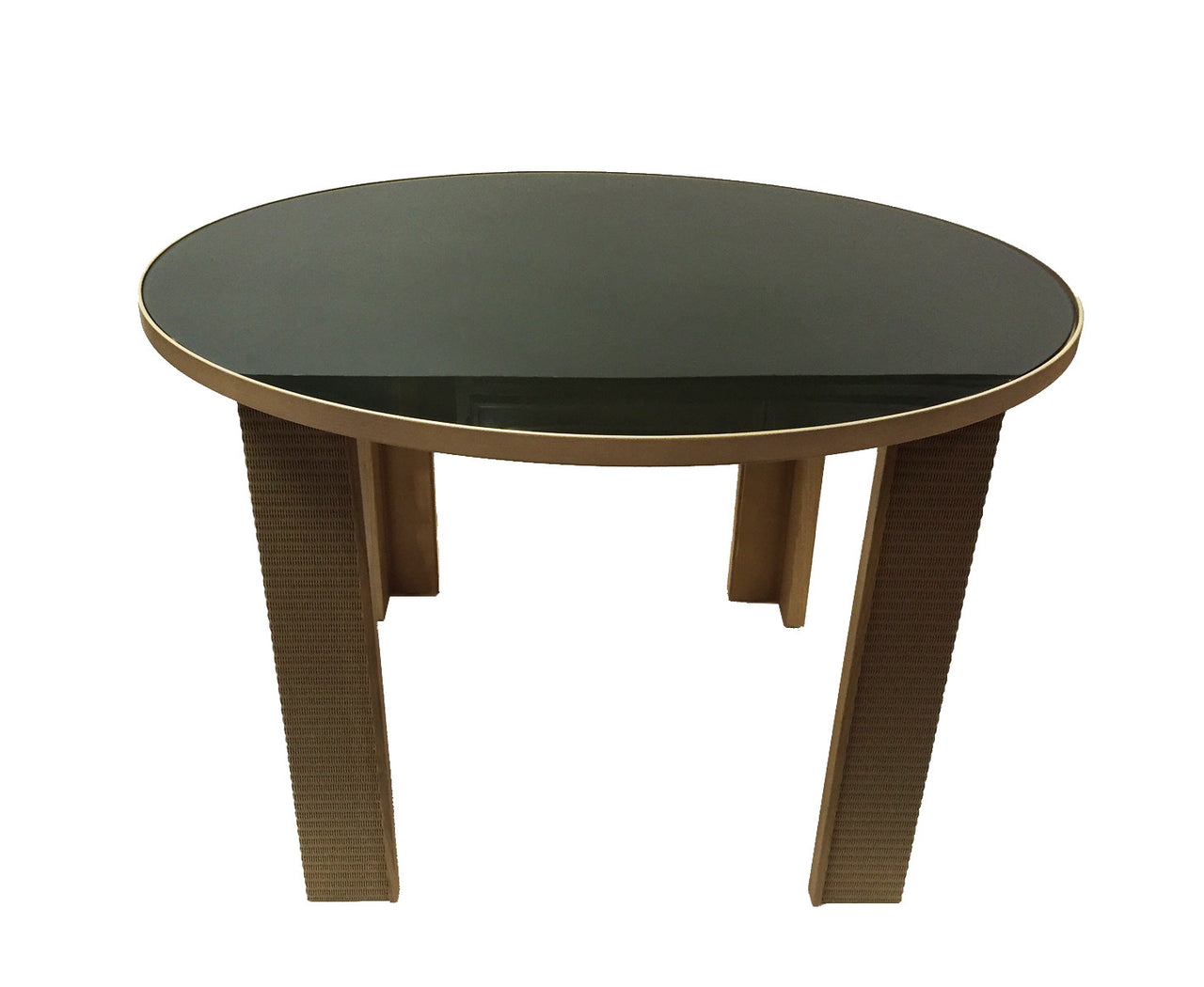 "49"" Round Dining Table With Smoked Glass Top - touchGOODS"