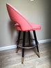 Set of 2 Pink Mid Century Modern 1950s Stiletto Metalart Metal Swivel Counter Stools - touchGOODS