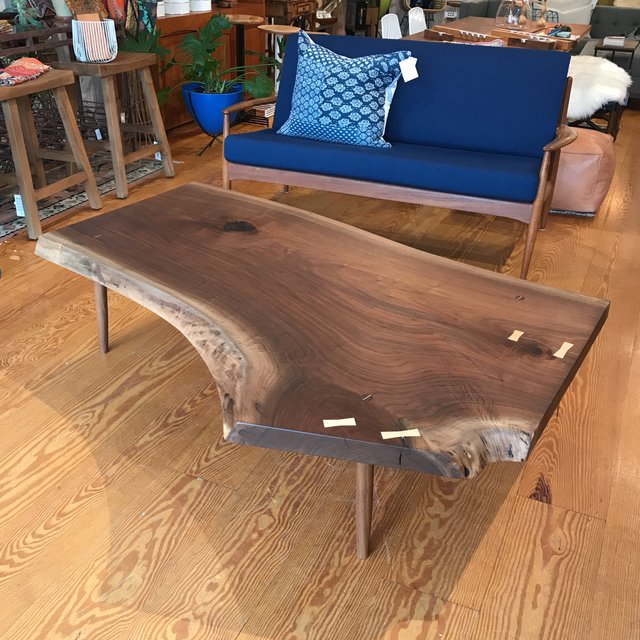 Black Walnut Live Edge Slab Coffee Table