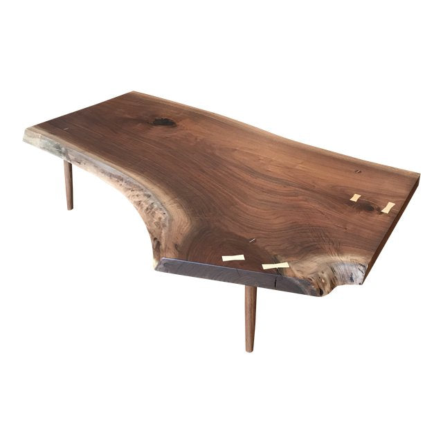 Black Walnut Live Edge Slab Coffee Table - touchGOODS