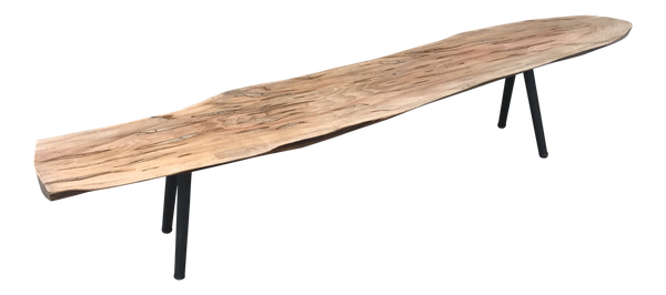 Modern Spalted Maple Live Edge Slab Bench