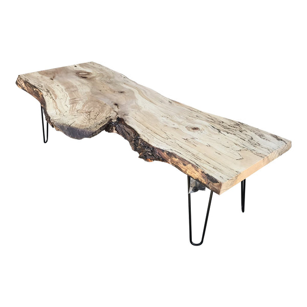 Organic Modern Live Edge Silver Maple Slab Coffee Table | touchGOODS