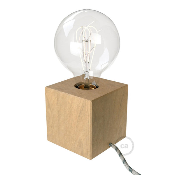 Natural Wood Cube Table Lamp with Cloth Wire | touchGOODS