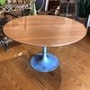 Round Cherry Pedestal Dining Table With Vintage Burke Tulip Base