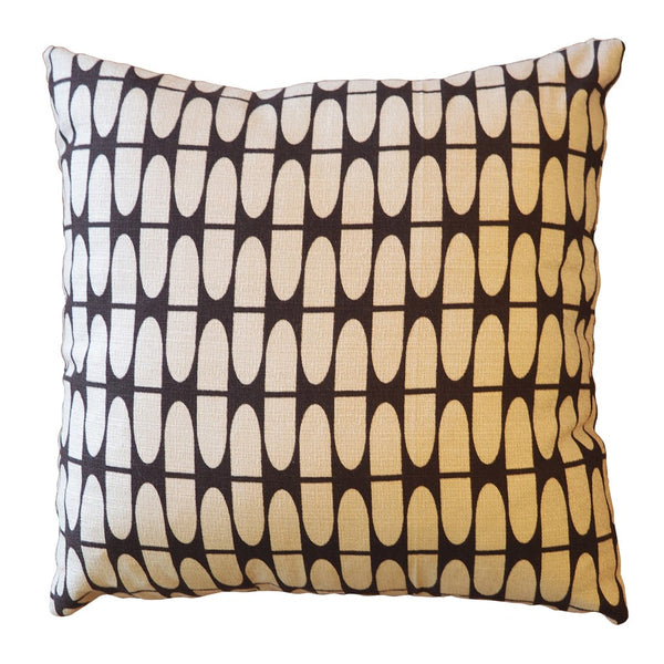"Barkcloth Throw Pillow ""Half Life"" Tan and Brown - touchGOODS"