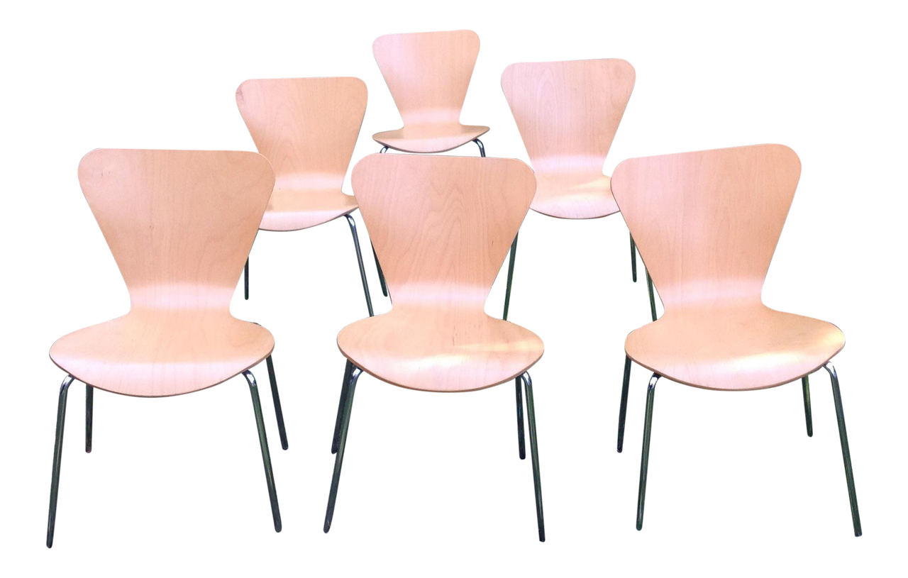 Vintage Arne Jacobsen Style Chairs - Set of 6