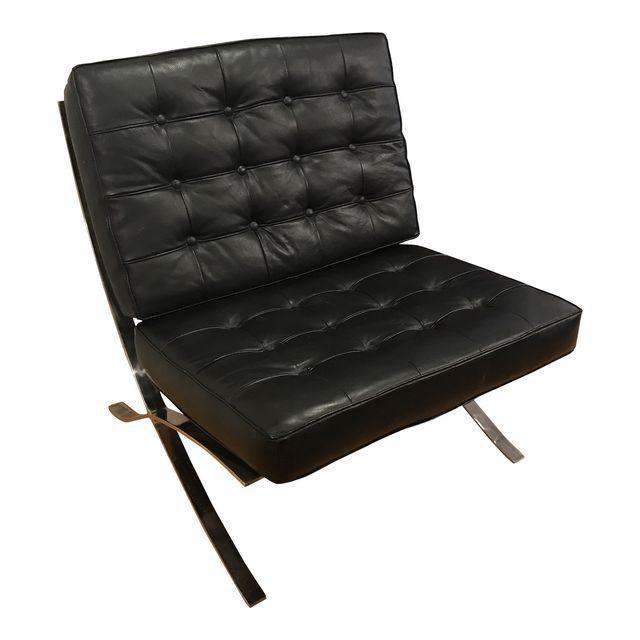 Vintage Barcelona Style Leather Chair, After Mies Van Der Rohe | touchGOODS