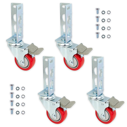 4pc Storage Rack Caster Wheels (Adapts to Boltless Self Locking Shelving Racks)