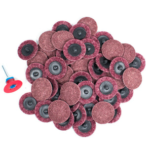 "50pc - 2"" Medium Maroon Roloc Quick Change Surface Conditioning Prep Sanding Pads"
