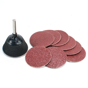 "2"" Hook and Loop Velcro Sanding Pad with Drill Adapter & 10pc 80 Grit Sandpaper"