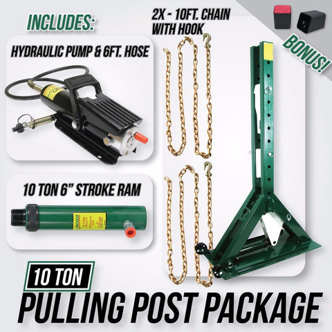 "Jackco 10 Ton - Pulling Power Post 55.5"" Tall with Pump, 6ft Hose & 10 Ton Ram 6"" Stroke"