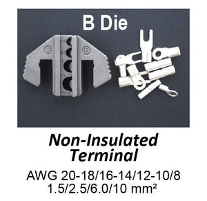 Crimping Tool Die - B Die for Non-Insulated Terminals AWG 20-18/16-14/12-10/8