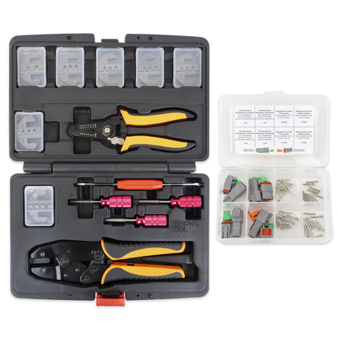 13 pc Deutsch Crimper Kit - Includes Ratcheting Crimper, 7 Dies, Wire Stripper & Removal Tools PLUS 52pc Deutsch DT Connector Kit