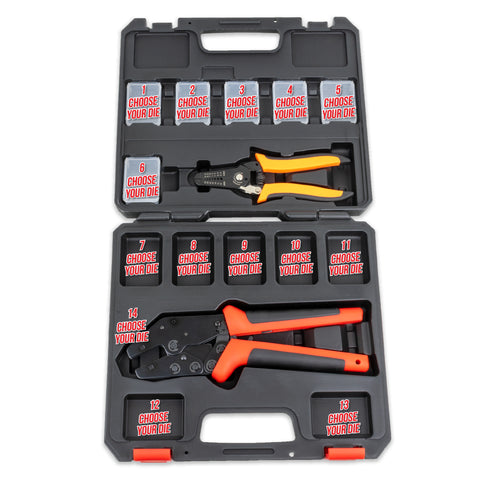 Interchangeable Ratcheting Terminal Crimper Set - 14 Die Sets with Wire Strippers (Choose Your Own Dies)