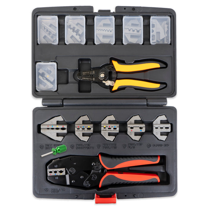 Interchangeable Ratcheting Terminal Crimper Set - 12 Die Sets with Wire Strippers (Insulated, Superseal, Weatherpack)