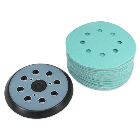 "(40 Pack) 5"" 8 Hole 120 Grit Sanding Disc Paper with 5"" 8 Hole Hook and Loop Pad"