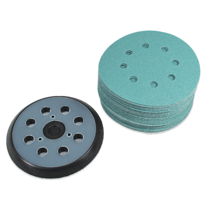 "(40 Pack) 5"" 8 Hole 80 Grit Sanding Disc Paper with 5"" 8 Hole Hook and Loop Pad"